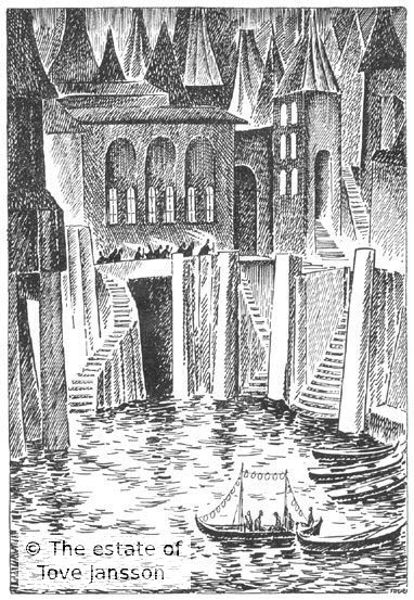 Tove Jansson's illustrations to J. R. R. Tolkien: Bilbo – en hobbits äventyr, Rabén & Sjögren, 1962, p. 201 - Lake Town