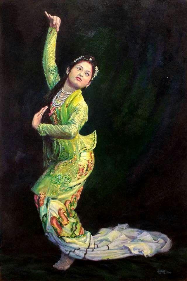 dancing Asian techno oil