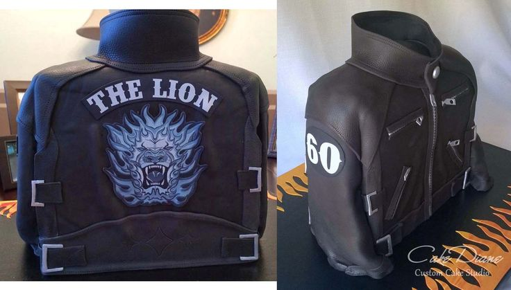 "Leather biker jacket cake for ""The Lion's"" 60th birthday"