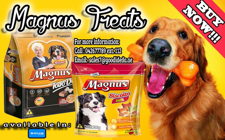 Selection of ingredients provide a food with all essential nutrients important for the quality of life of your dog. Also, it is super crunchy and has a flavor that it adores.  • Magnus Cookie Mix  • Magnus All Day Treats Available Now for affordable price :) For more information: Call:042677789 loc 112 Email:sales7@goodidea.ae ◘ We are open for those who have petshops,pet store and Good samaritans helping those stray with promotional offer ♥ Also Available in : SOUQ.COM