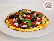 IQS 8-Week Program - Roasted Vegetable Cauliflower Pizza- love cauliflower and love it as a pizza base!