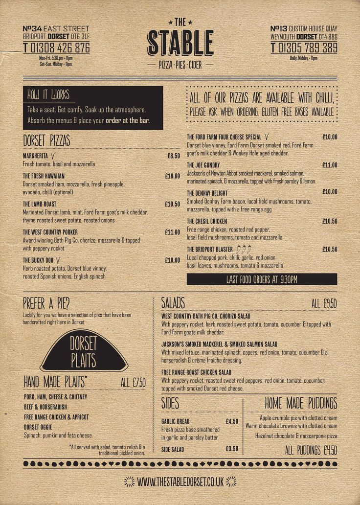The Stable Pizza Menu (and pies and salads!)    http://thestabledorset.co.uk