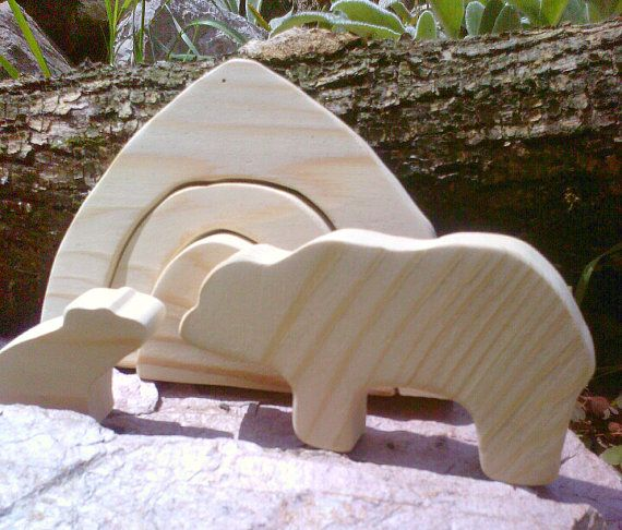 Mother Bear and Cub with Cave - Natural Wooden Playset