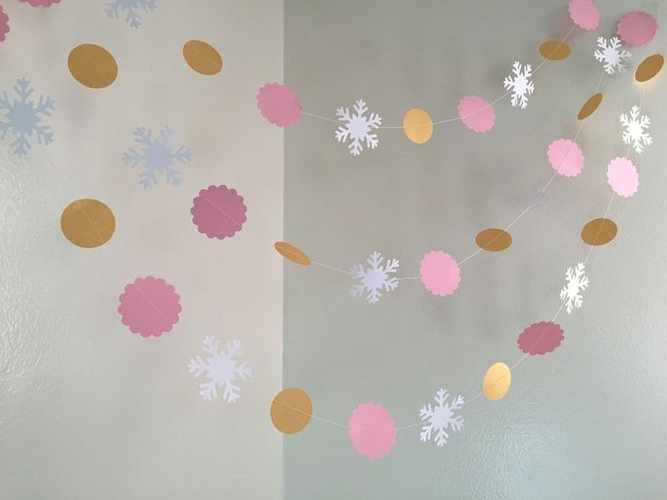 Pink & Gold Snowflake Garland Onederland Birthday Decoration Garland 1st Birthday Snowflake Baby Shower Winter Shower Custom Colors by ClassicBanners on Etsy https://www.etsy.com/listing/256033473/pink-gold-snowflake-garland-onederland