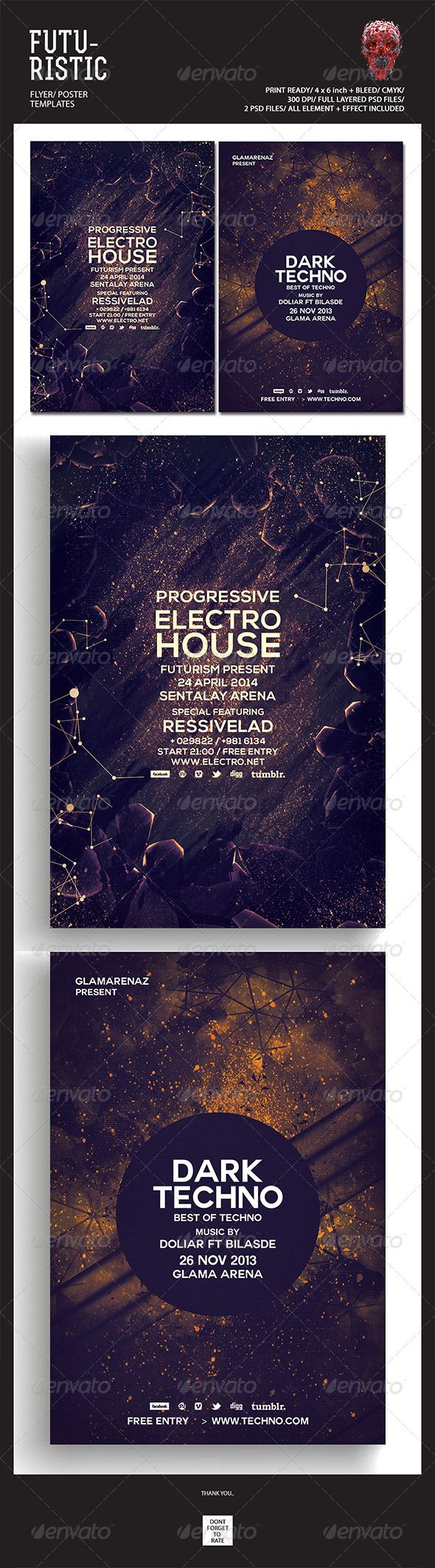 """Futuristic Flyer Templates #GraphicRiver Featured Flyers Flyer Artwork """"Dark Techno"""" This flyer was designed to promote an Electro / Dubstep / Dance / Drum and Bass / Techno / House music event, such as a gig, concert, festival, dj set, party or weekly event in a music club and other kind of special evenings. This flyer can also be used for a new album promotion or other advertising purposes. Detail : 2 Psd files 4×6 with 0.25 inch bleed area 300 dpi/CMYK Organized layers Print ready Font…"""
