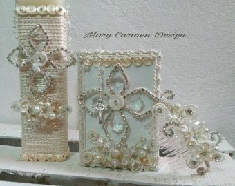 First Communion candle set Comb head set sail by FANNYCARMENDESIGN