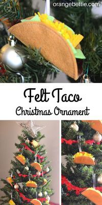 How to make felt taco Christmas ornaments.  Tutorial at OrangeBettie.com. #Christmas #Christmasornament #DIYChristmas #taco #ChristmasDIY