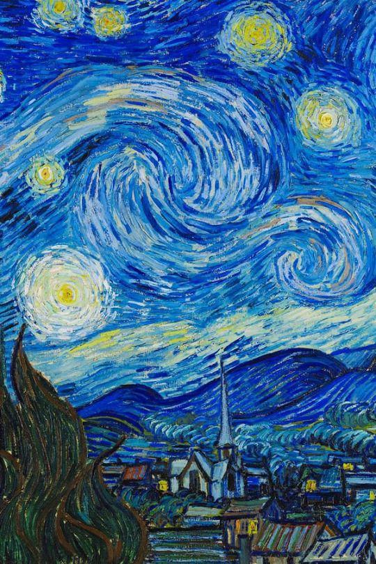 EXPRESSIONISMO: Vincent van Gogh - The Starry Night, 1889. Me passa uma noite fria e uma cidade nebulosa