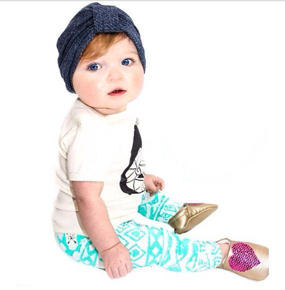 Denim Blue Baby Girl Turban Blue Denim Print by ShopBelleThreads
