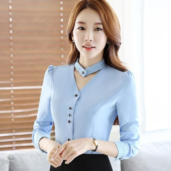 2017 New slim formal long sleeve women shirt OL autumn Elegant V-neck lace Patchwork chiffon blouse office ladies plus size tops
