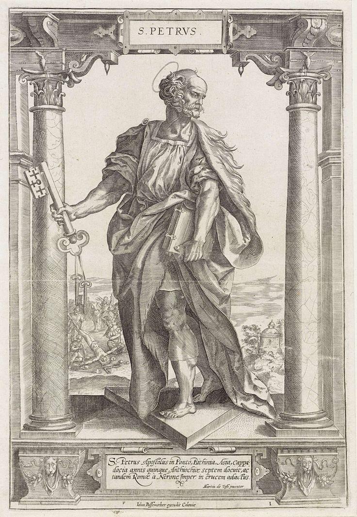 Hieronymus Wierix | H. Petrus, Hieronymus Wierix, Jan Ditmaer, Anonymous, 1580 - 1613 | De heilige Petrus staat tussen twee zuilen in een architecturale omlijsting. In zijn ene hand houdt hij een sleutel, onder zijn arm een boek. Op de achtergrond diens kruisiging op een omgekeerd kruis. In het kader onderaan een drieregelig onderschrift in het Latijn.