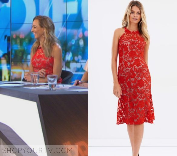 The Project: April 2017 Carrie's Red Lace Dress | Carrie Bickmore wears this sleeveless red lace dress in this episode of The Project on Thursday April 20th 2017.  It is the Cooper St Carnation Lace Dress.