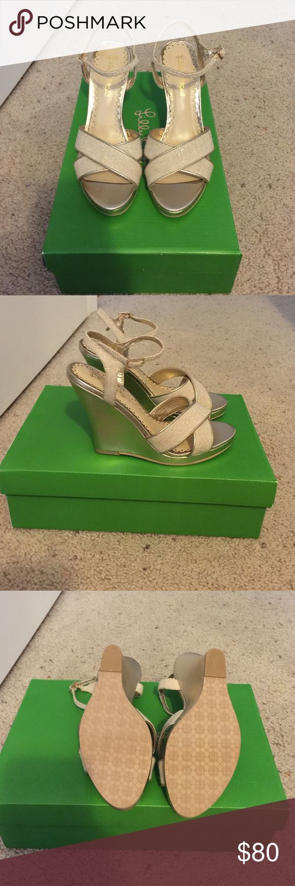 Lilly Pulitzer Abby Wedge New in Box Lilly Pulitzer Abby Wedge!!! Gorgeous gold Wedge with natural criss cross detail at the toe. Never been worn! Lilly Pulitzer Shoes Wedges