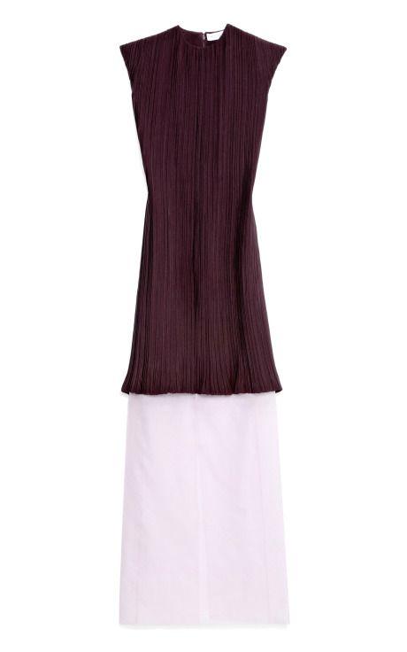 Shop Cap Sleeve Crush Pleated Silk Cady Long Column Dress by Barbara Casasola for Preorder on Moda Operandi