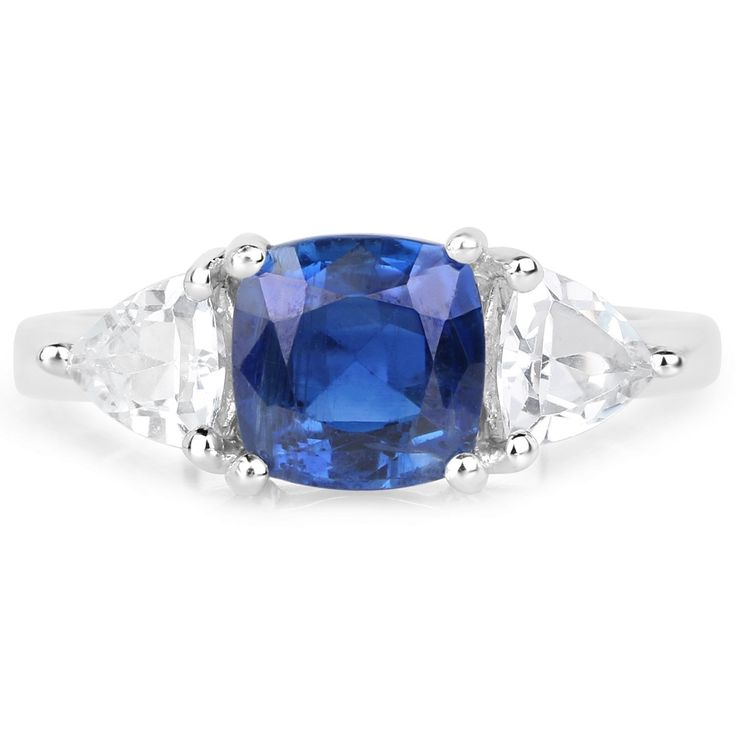 3.07 Carats Genuine Kyanite And White Topaz Ring Solid
