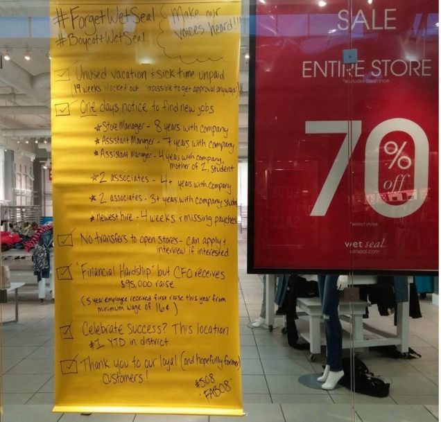 Wet Seal Employees Say F*%# Wet Seal With Giant Sign On Store