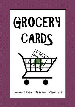 90 grocery cards  (6 per page)Write your own price  -  this allows flexibility for tailoring them to the learning goals of your students.Suitable for a money unit or imaginative play.**********************************************************************  Suzanne Welch Teaching ResourcesTpT credits Earn TpT credits by providing feedback on this product after you purchase it.