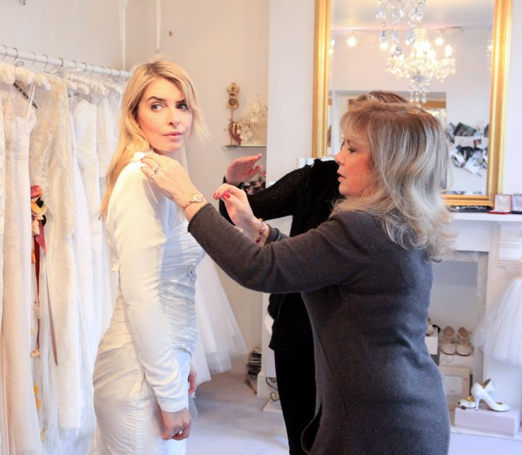 Emma Atkins as ITV Emmerdale's 'Charity' having her dress fitting.