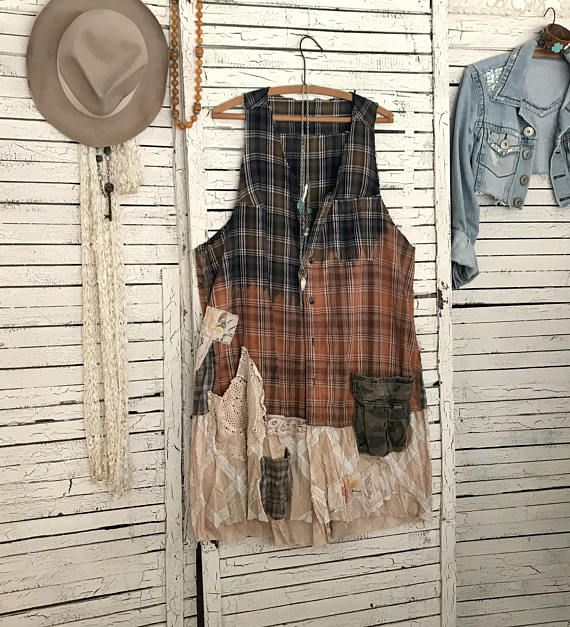 """This piece is part of my """"Prairie Chic"""" Collection: Western Inspired Clothing in """"Frontier Days meet Hippie Style""""… lots of denim, lace, ruffles and flannel… Most garments are antiqued, hand dyed and tattered for that time-worn look… Upcycled Sleeveless Flannel Dress or Duster Coat,"""