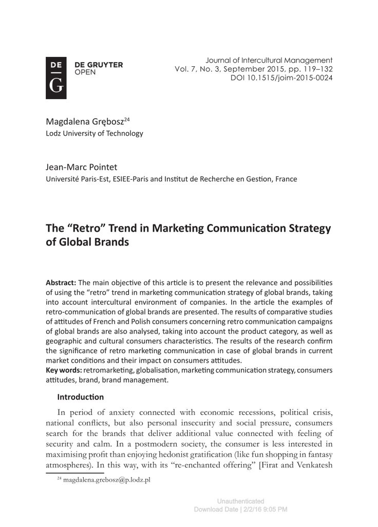 "The ""Retro"" Trend in Marketing Communication Strategy of Global Brands"