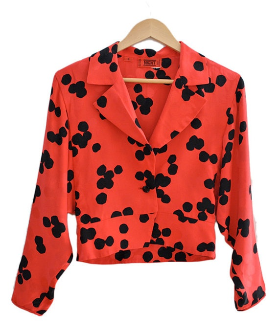SALE VALENTINO NIGHT Red Polka Dot Silk Jacket by recollectvint, $98.00