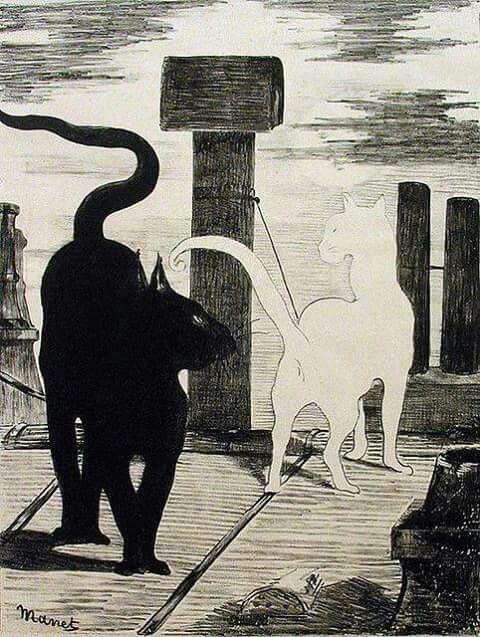 "EDOUARD  MANET - ""Dos gatos"" (1880)"