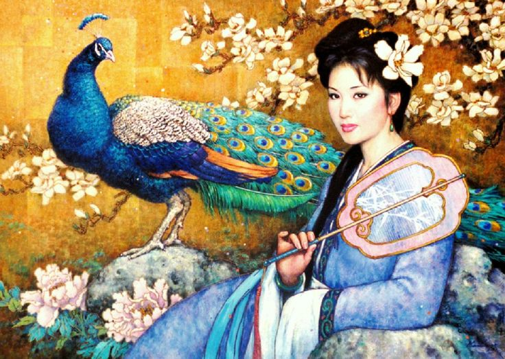 Geisha and Peacock, abstract, art, artist, beautiful, blue, chinese ...1491 x 1060 | 574.1 KB | www.free-hdwallpapers.com: