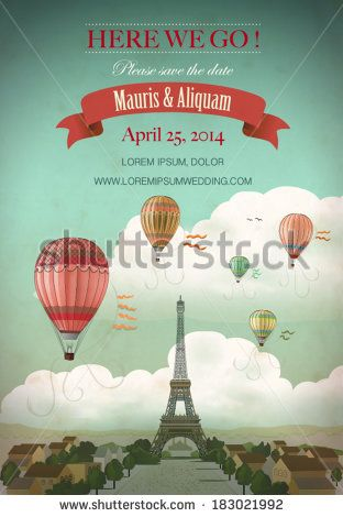 invite idea... with Paris and hot air balloons, vector illustration - stock vector