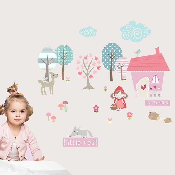 Little Red Riding Hood Fabric Wall Stickers