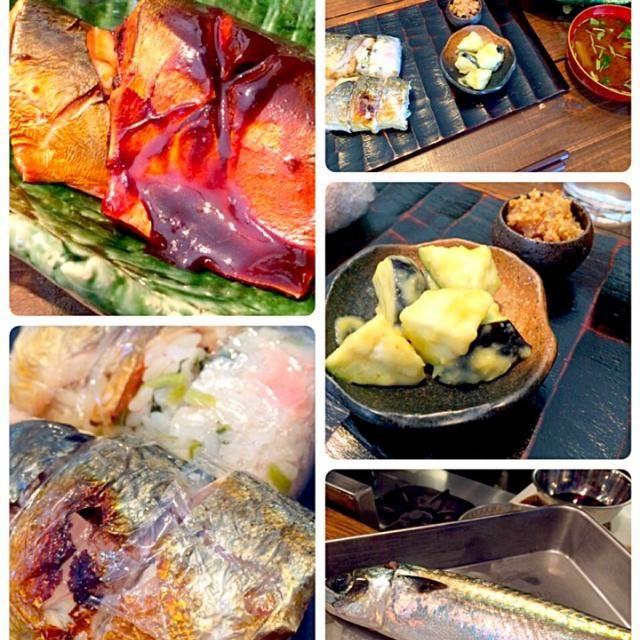 鯖味噌煮、醤油煮。焼鯖寿司。鯖の胡麻酢和え。船場汁。水茄子山葵和え。 - 6件のもぐもぐ - 魚教室、鯖 by seabreeze
