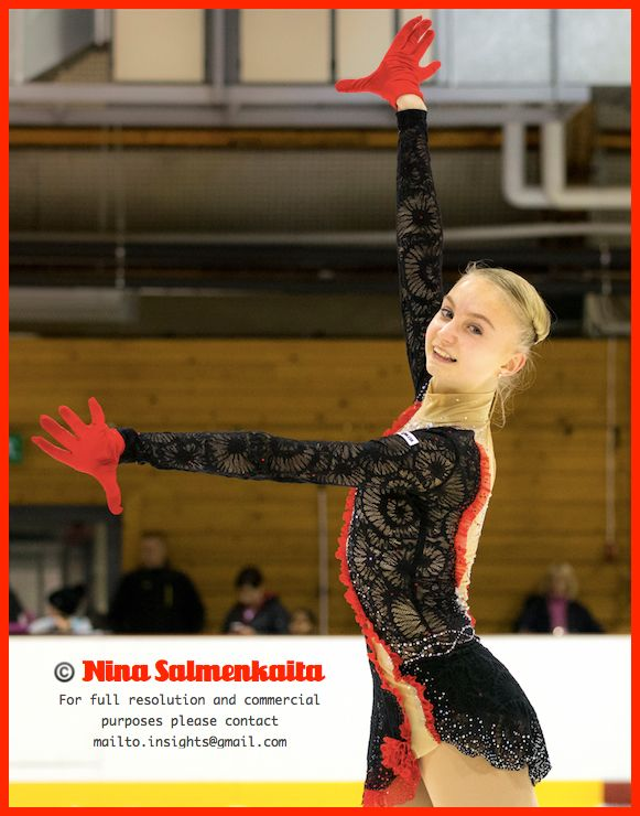 Sofia competes in Advanced Novice level. She is known for very flexible spins.
