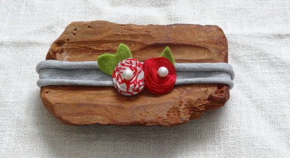RTS jersey Newborn headband red white flowers Hair by Ifonka
