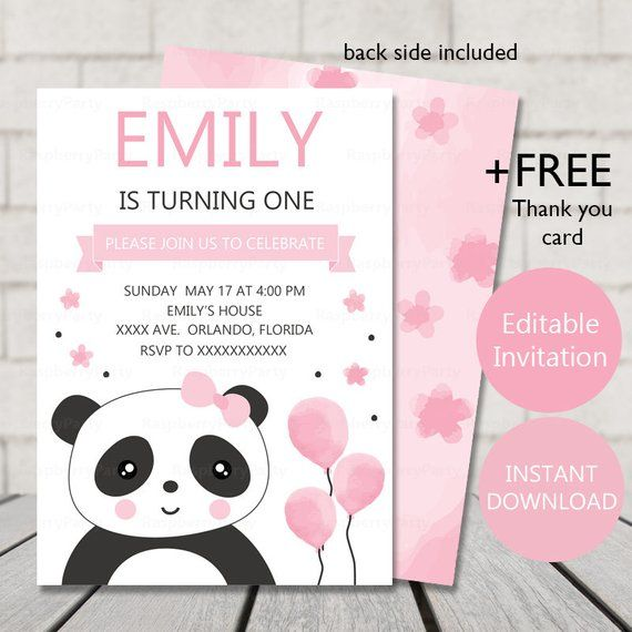 panda birthday invitation panda