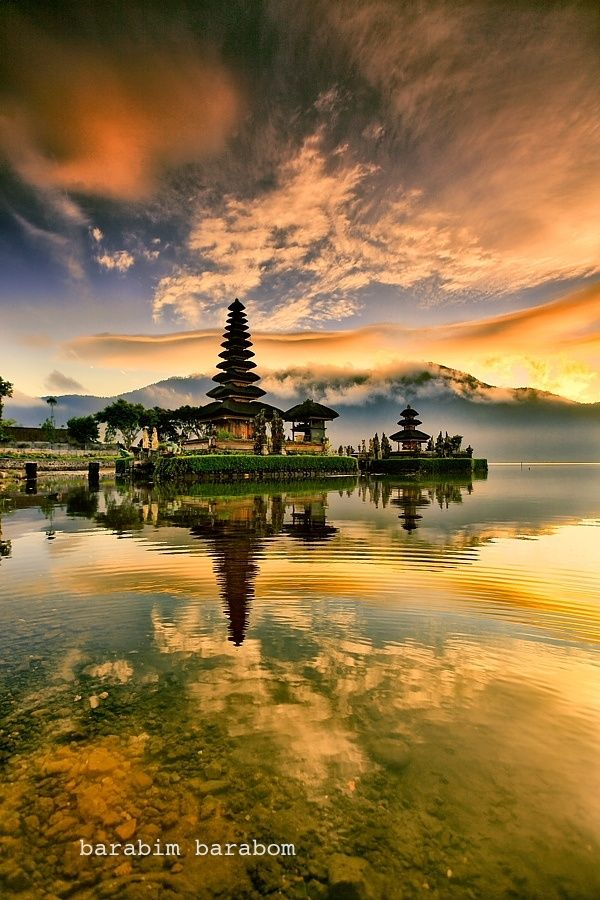 Pura Ulun Danu Bratan, or Pura Bratan, is a major Shivaite and water temple on the island of Bali, Indonesia. #Hindu #photography