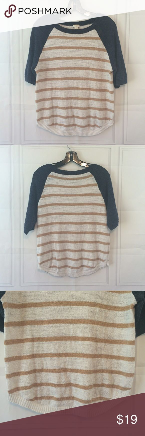J. Crew Factory Medium Tan / White / Blue Sweater J. Crew Factory Airspun Baseball Sweater in Stripe. Medium. Tan and white stripes with navy blue accent on sleeves and around neck. Linen blend. Thin. Pullover. Some pilling and a light spot on front bottom. See pictures. Still in great condition! This garment has been washed. See photos for measurements,  fabric content and cleaning instructions. Thank you for looking at my store! - Bin 4-4 J. Crew Factory Sweaters Crew & Scoop Necks