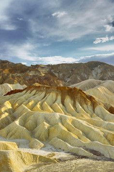 Zabriskie Point, beautiful erosional landscape in Death Valley, California.