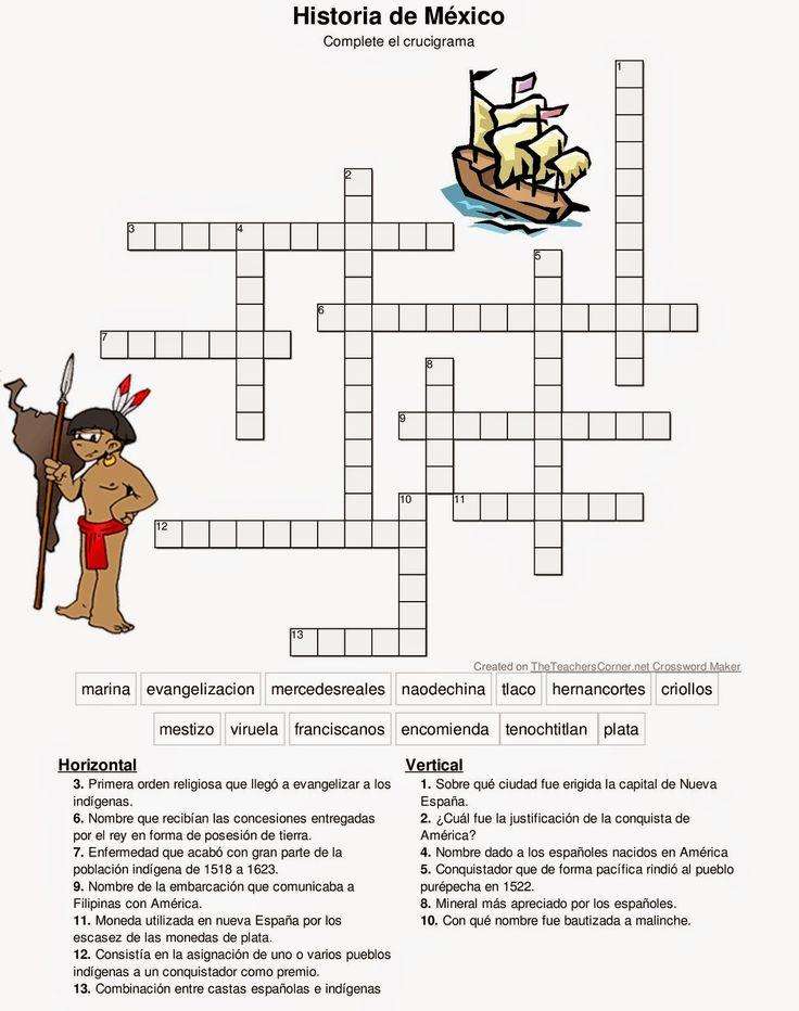 Historia De México: Crucigrama Expediciones Españolas y Conquista de ...