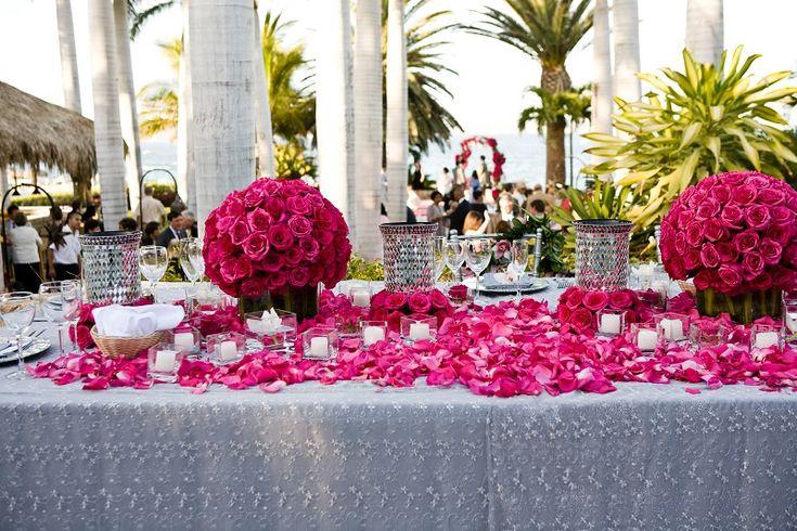 Long head tables for weddings hot pink beach weddings elena damy floral design