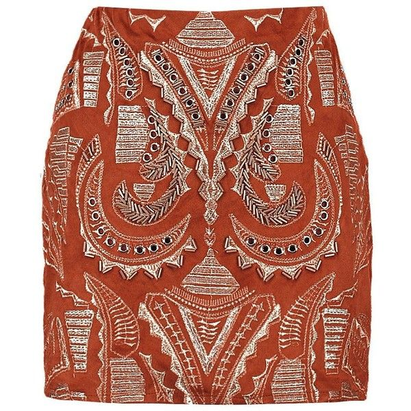 Boohoo Boutique Petra Embroidered Suedette Mini Skirt ($37) ❤ liked on Polyvore featuring skirts, mini skirts, midi skirt, maxi skirt, short mini skirts, short maxi skirt and brown mini skirt