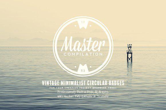 Vintage Minimalist Circular Badges by Yusof Mining on @creativemarket