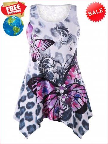 d76c0bc3020739 Best Prices Plus Size Sheer Lace Panel Butterfly Print Tank Top 2196724  LGRny9ZIt4r3CQb86jEz Cheap Sale @RoseGal.com
