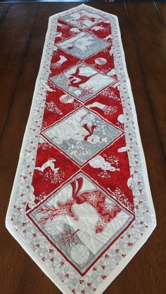Red White and Silver Christmas Table Runners by SerenaBeanQuilts