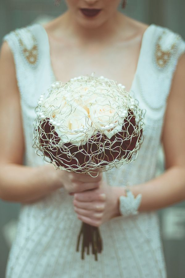 Unique wire-wrapped bouquet | Photo by Modern Vintage Weddings | Flowers by Vintage Floral Design Co