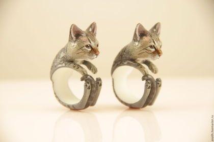 Кольца ручной работы. Ярмарка Мастеров - ручная работа. Купить Кольцо Кошка. Кольца с животными. Cat ring. Handmade. Комбинированный