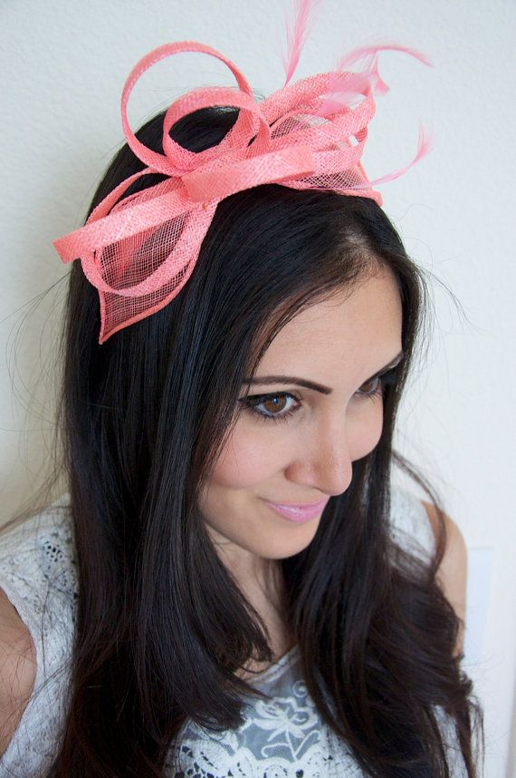 Mini Coral Fascinator  Flitter-by Mesh Coral by PippaAndPearl