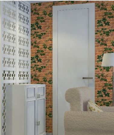 Red Brick Grape Vine Leaf Self-Adhesive Wallpaper