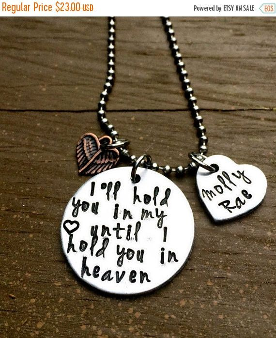 Hold in Heart, Baby Loss, Miscarriage, Child Death, Loss Necklace, Memorial Gift, RIP, Loss of Loved One, Hand Stamped Jewelry, Personalized