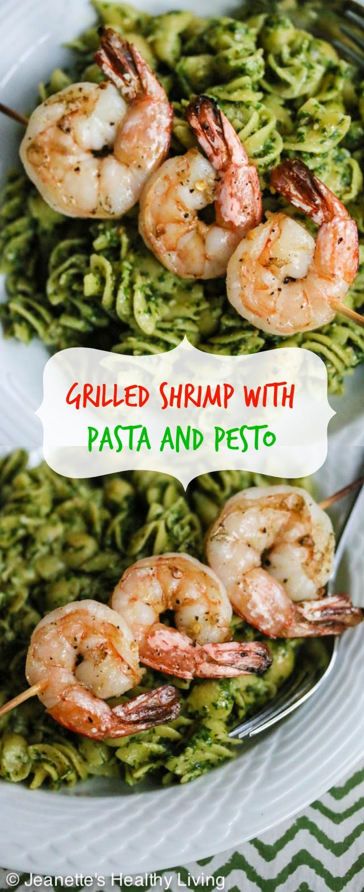 Easy Grilled Garlic Chili Shrimp with Pasta and Pesto via Jeanette's Healthy Living #lowcarb #protein