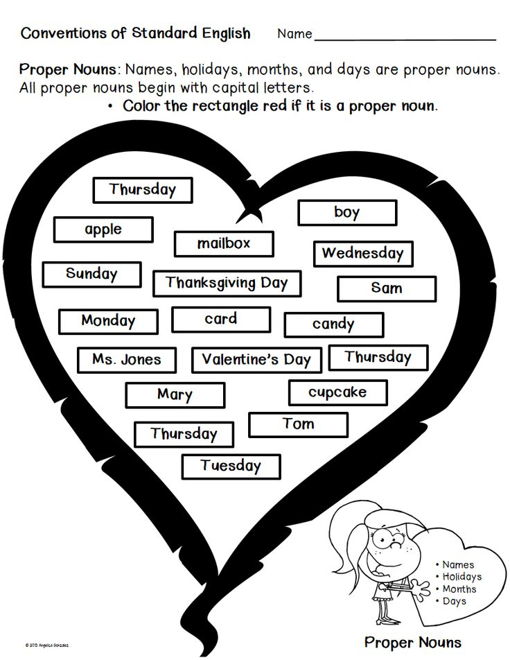 Free: Proper Nouns Activity Sheet for Valentine's Day