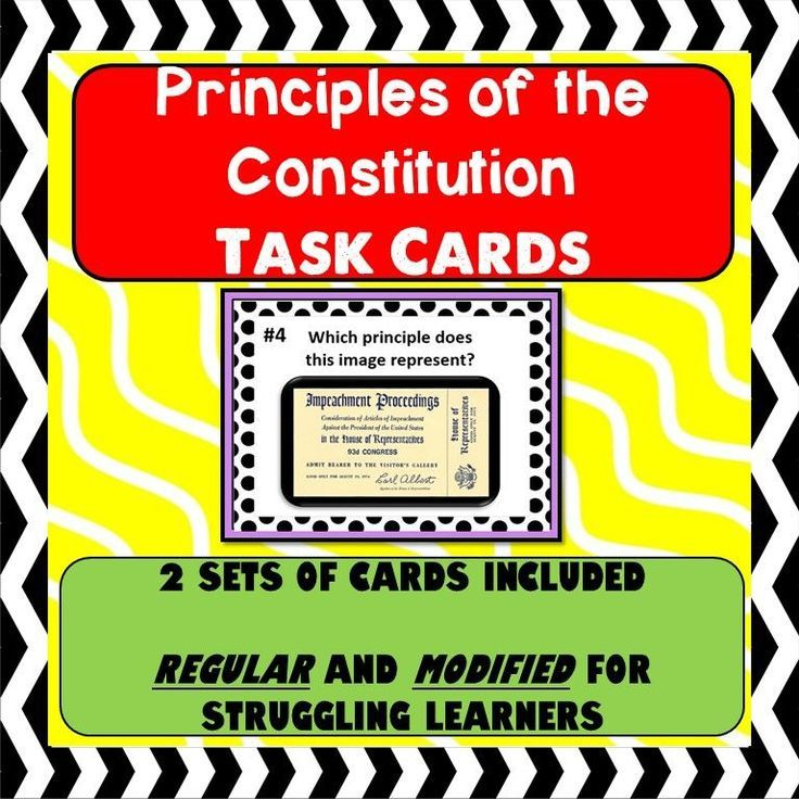 Principles Of The Constitution Task Cards Activity Modified Version Included Constitution Teaching Government Government Lessons